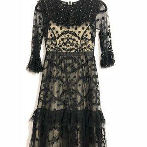 Needle and Thread Embellished Black Midi Dress